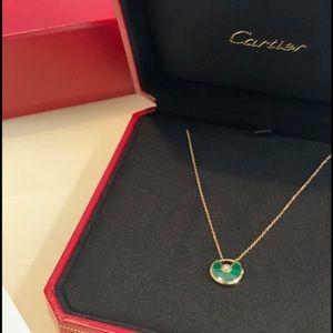 CARTIER amulette necklace XS.Rose gold, malachite, Diamond NEW authentic+receipt